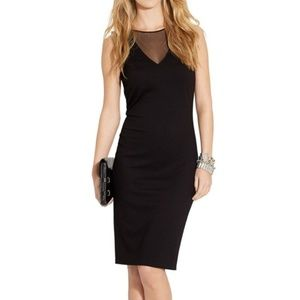 Black Sheath Midi Dress with Mesh at Cleavage